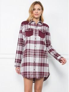 Женская хлопковая ночная рубашка с длинным рукавом