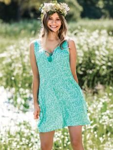 Женское летнее домашнее платье из вискозы в мятном цвете