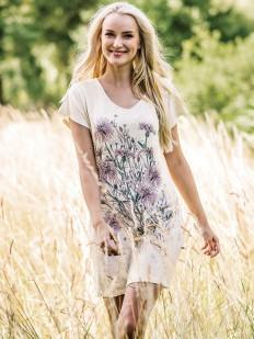 Короткая летняя трикотажная сорочка из вискозы с цветочным принтом