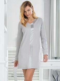 Женская хлопковая ночная сорочка с атласной вставкой JADEA maximaglia