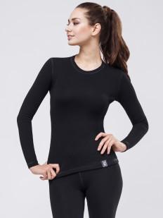 Черная женская термофутболка лонгслив с длинным рукавом