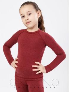 Детская облегающая термокофта для девочек бордовая