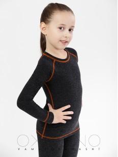 Детская облегающая термокофта для девочек черная