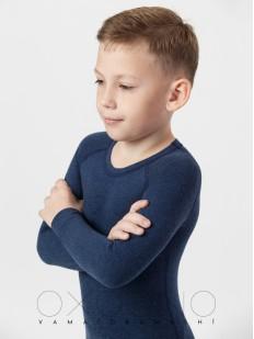 Детская облегающая термокофта для мальчиков темно-синяя