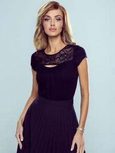 Женская элегантная футболка с вырезом и кружевной вставкой