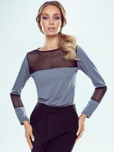 Серебристая блузка с тюлевыми вставками в горошек