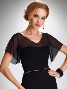Женская блузка с прозрачными рукавами из микросетки