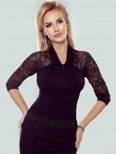 Элегантная женская блузка с кружевными рукавами и v-вырезом