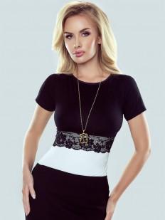 Элегантная женская блузка с кружевным поясом и короткими рукавами