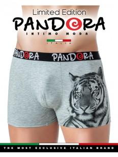 Хлопковые серые мужские трусы боксеры с принтом тигра