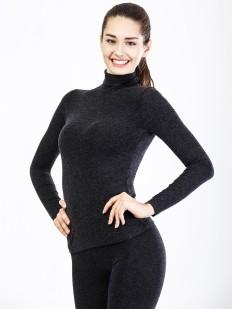 Женская черная термоводолазка из вискозы с длинным рукавом