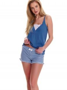 Женская летняя пижама с шортами в клетку и синим топом на бретелях
