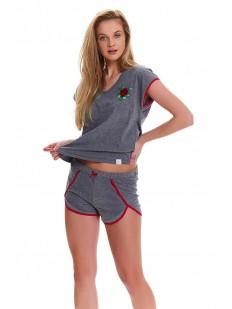 Женская летняя пижама хб с шортами серая в спортивном стиле