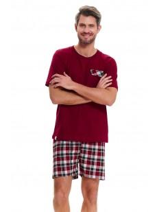 Летняя мужская пижама с клетчатыми шортами из хлопка красная