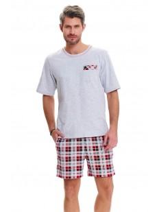 Летняя мужская пижама из хлопка с клетчатыми шортами и серой футболкой