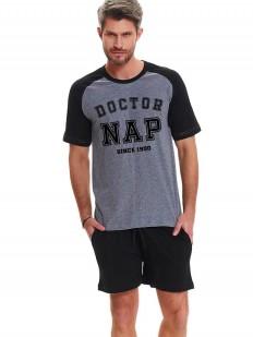 Летняя мужская пижама с шортами из хлопка серая