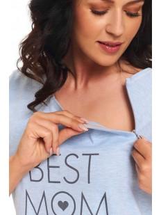 Голубая хлопковая сорочка для кормящих мам и в роддом