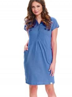 Синяя женская хлопковая сорочка для беременных и кормящих