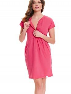 Розовая женская сорочка хлопковая для беременных и кормящих
