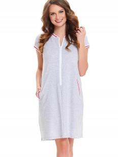 Серая женская сорочка на молнии для беременных и кормящих