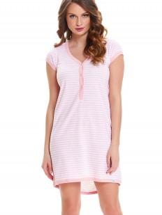 Полосатая сорочка в роддом для беременных и кормящих светло-розовая