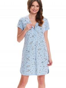 Сорочка в роддом для беременных и кормящих голубая с космическим принтом