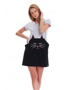 Женская ночная сорочка из хлопка серая с принтом кот