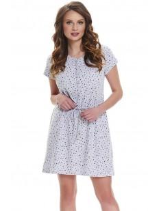 Женская хлопковая сорочка для беременных и кормящих серая в горошек
