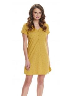Желтая женская ночная сорочка из хлопка на пуговицах