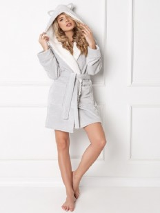 Теплый женский халат с капюшоном и ушками серый