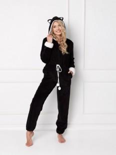 Домашний женский черный комбинезон с капюшоном