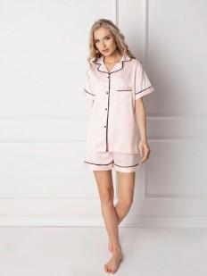 Женская атласная летняя пижама с шортами и рубашкой