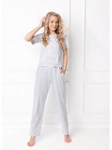 Женская хлопковая пижама со штанами в горошек