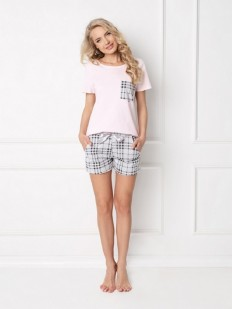 Хлопковая женская летняя пижама футболка с шортами в клетку