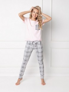 Женская хлопковая пижама со штанами в клетку ARUELLE Londess pink