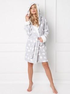 Теплый женский халат с капюшоном и ушками ARUELLE Polar bear grey