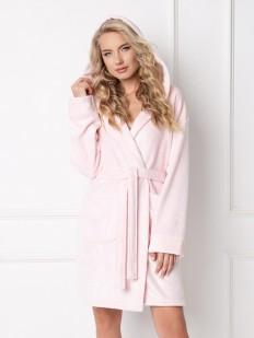 Теплый женский халат с капюшоном и карманами ARUELLE Sparkly pink