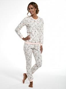 Хлопковая женская теплая пижама с брюками и мишками