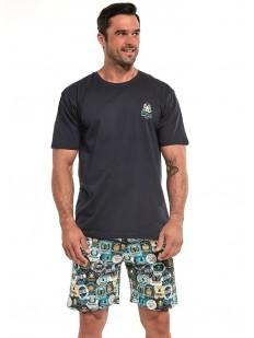 Летняя мужская пижама из 100% хлопка с шортами