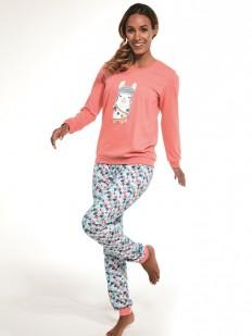 Хлопковая теплая женская пижама со штанами и ламой