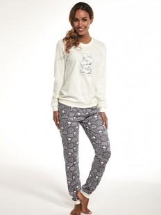 Хлопковая женская теплая пижама с брюками и овечками
