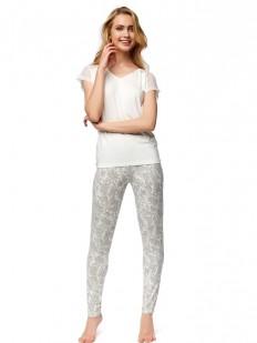 Женская трикотажная пижама с брюками из вискозы и цветочным узором