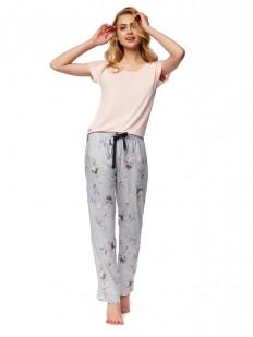 Женская трикотажная пижама с брюками из вискозы и аистами