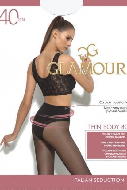 Матовые утягивающие колготки с трусиками Glamour THIN BODY 40 - фото 1