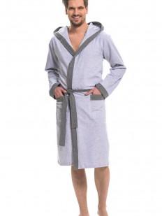 Светло-серый хлопковый мужской халат с капюшоном