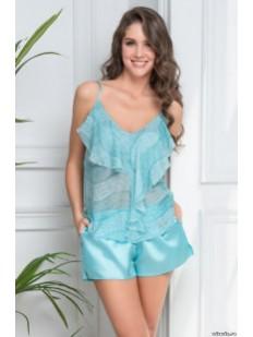 Женская летняя пижама с рюшами и атласными шортами Mia-Amore Luciana