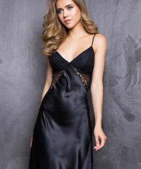 Атласная черная женская сорочка под платье