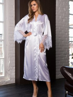 Сатиновый белый женский домашний халат с кружевным рукавом Mia-Mia Evelin