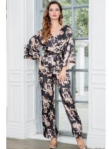 Женская атласная пижама с брюками и восточным принтом