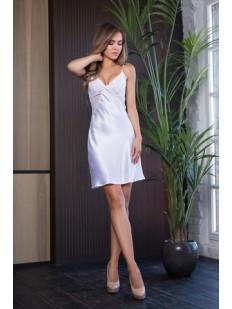 Атласная короткая белая сорочка платье